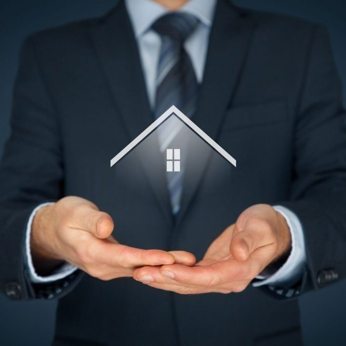 49906412 - real estate agent offer house. property insurance and security concept.